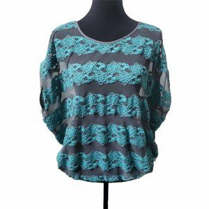 Free People County Fair Banded Bottom Hem Lace Top Sz S